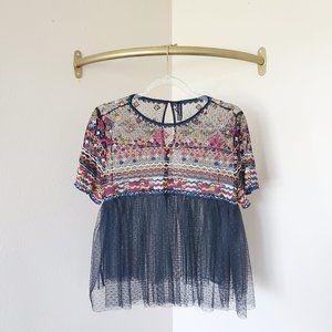 Zara Sheer Tulle Embroidered Black Blouse L